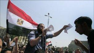 Protesters at Tahrir Square in Cairo during the Egyptian revolution