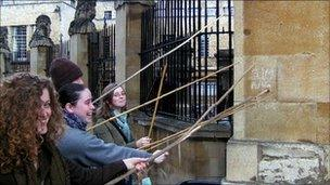Boundary beaters outside the Sheldonian Theatre in Oxford