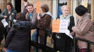 Protest at Bilton library