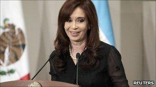 President Cristina Fernandez speaking during a visit to Mexico on 30 May 2011