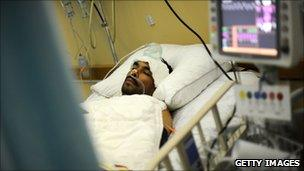 A Libyan rebel fighter in hospital in Benghazi, 23 May