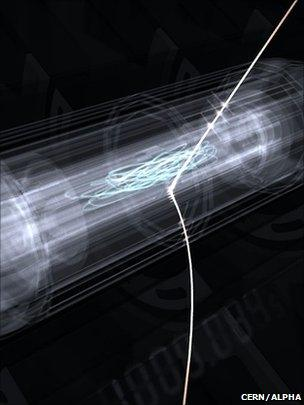 Artist's conception of an anti-hydrogen atom being released from the trap after 1,000 seconds