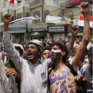 Protesters in Sanaa, Yemen