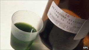 Bottle containing methadone and a measure of the drug