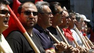 Communist party affiliated protesters in Greece