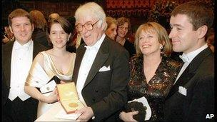 Seamus Heaney and family at Nobel ceremony