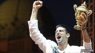 Novak Djokovic greets crowds in Belgrade, 4 July 2011