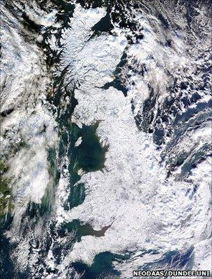 Satellite image of Britain covered in snow (Image: NEODAAS/University of Dundee/PA)