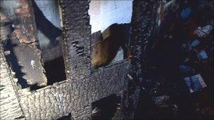 The lower floor of the school's gate lodge was set alight