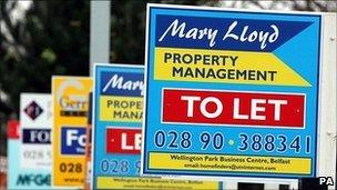 Line of 'to let' signs. Photo: PA