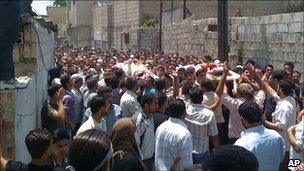Unverified photo said to show funeral protest in Kaboun, Syria (16 July 2011)