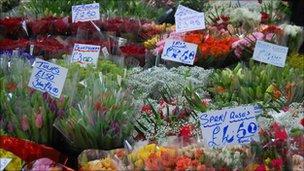A flower stall at Kirkgate Market