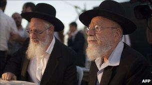 Rabbi Dov Lior (R) and Rabbi Yaakov Yosef in Jerusalem 4 July 2011