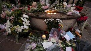 Floral tributes left at Camden Square in north London