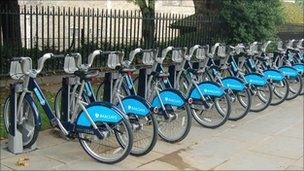 Cycle hire bikes at a docking station