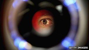 Eye through a retinal scanner