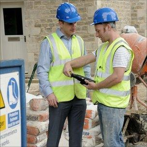 Simeio fingerprint reader in use on a building site