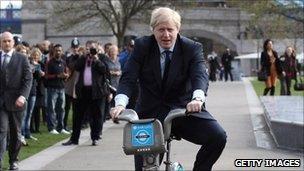 Boris Johnson on a cycle hire bike