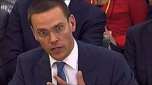 James Murdoch at the committee hearing on 19 July 2011