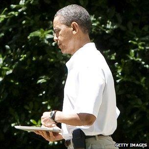 President Barack Obama with iPad