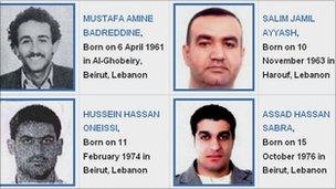 The four men accused of killing Rafik Hariri: Mustafa Amine Badreddine, Salim Jamil Ayyash, Hussein Hassan Oneissi and Assad Hassan Sabra