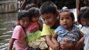 Children in a boat in Iquitos