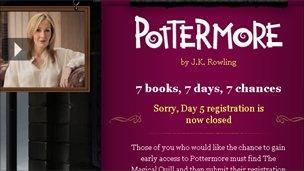 Screen grab of Pottermore website, Pottermore