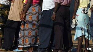 Voters queuing in Liberia during elections in 2005