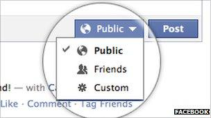 Privacy settings for status update