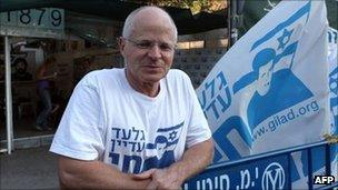 Noam Shalit, Gilad's father, outside the family protest tent in Jerusalem, 17 August