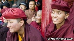 Nuns at Naro Photang nunnery in Shey