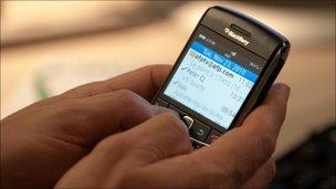 Person using Blackberry