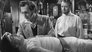The Curse of Frankenstein (1957), starring Peter Cushing and Christopher Lee