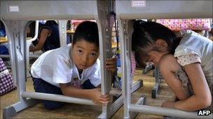 Children shelter under desks at school in Tokyo as part of the drill on 1 September 2011