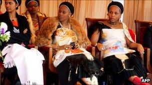Three of King Mswati's wives (July 2011)