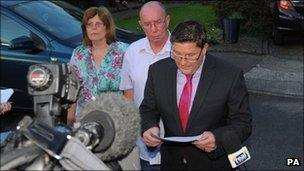 Rebecca Leighton's lawyer Carl Richmond reading statement