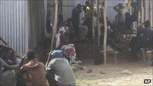 Refugees from Eritrea waiting to be screened in Ethiopia close to the border, 27 July 2011
