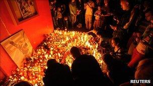 A memorial for Pavol Demitra in Trencin, Slovakia, 7 Sept