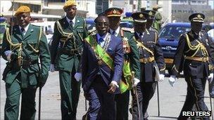 Robert Mugabe at the state opening of Parliament this week