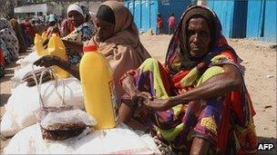 Women queue for food aid in Mogadishu