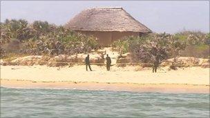 Soldiers patrol Kiwayu Safari Village