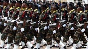 Angola soldiers on parade