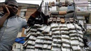 A mobile-phone vendor in Nigeria