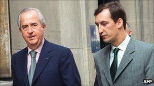 Edouard Balladur (L) and Nicolas Bazire (R) in 1994