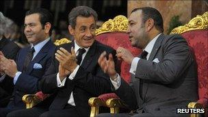 French President Nicolas Sarkozy and Moroccan King Mohammed VI in Tangiers (29 Sept 2011)