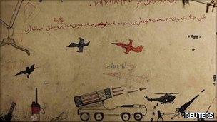 Taliban graffiti in a cave in Afghanistan (file photo)