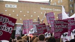 BNP protest at BBC