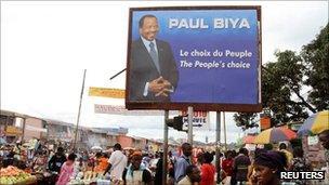 Paul Biya's campaign billboard in Makolo market, Yaounde, on 8 October 2011