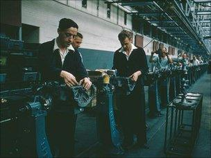 Workers on the shop floor at the Vauxhall Motors car factory in Luton, Bedfordshire, 1955