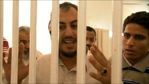 Inmates at al-Judaida prison